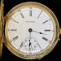 Antique Waltham 1908 16S 17J Pocket Watch in Etched 14K Yellow Gold Hunter Case