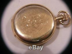 Antique Waltham 9ct Gold Full Hunter Pocket Watch 21 Jewel