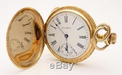 Antique Waltham Ladies Pocket Watch 14K Gold Solid Hunter Case Model 1891