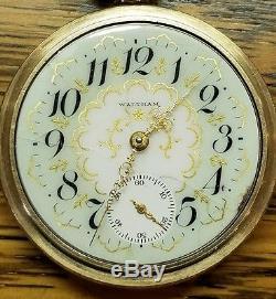 Antique Waltham Pocket Watch 17 Jewels 18 Size P. S. Bartlett Adj Fancy Dial 1907