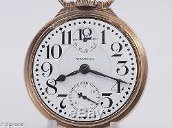 Antique Waltham Vanguard M#1908 16s 23j Pocketwatch with Up/Down Ind. Waltham Case
