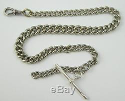 Antique White Metal Watch Chain with Sterling Silver T Bar LAYBY AVA