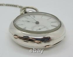 Antique Working 1878 HAMPDEN Victorian Coin Silver Key Wind 15J Pocket Watch 18s