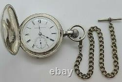 Antique Working 1883 HAMPDEN Victorian Coin Silver Full Hunter Pocket Watch 18s