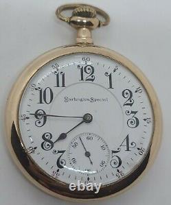 Antique Working 1909 ILLINOIS'Burlington Special' 19J Gold G. F. RR Pocket Watch