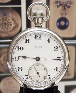 Antique Ww2 Swiss Rolex 40's Military Pocket Watch Back Up Chronometer Serviced