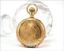 Antique c. 1890 Sz. 6 ELGIN Solid 14k Gold Floral Hunter Case Pocket Watch