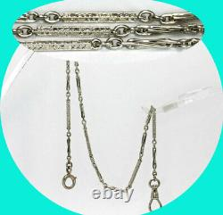 Antique estate pocket watch fob chain 14K white gold 9.6 grams 14 long detailed