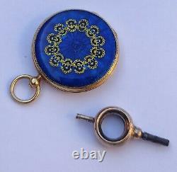 Antique miniature enamel watch. 18k gold. Antiguo reloj miniatura esmaltado. Oro