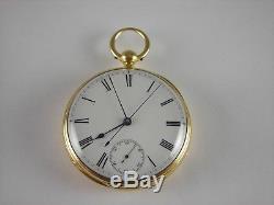 Antique original English key wind Doctor's 23 jewel pocket watch 18k gold. 1863