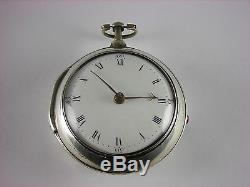 Antique original Irish Verge Fusee key wind pocket watch. Enamel Back. 1794