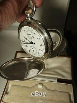 Antique silver 1909 full hunter rattrapante Chronograph Pocket Watch serviced
