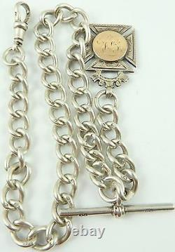 Antique silver albert pocket watch guard chain with gold and silver fob medal