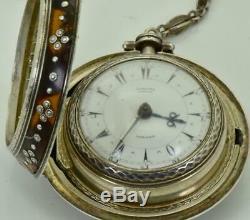 Antique silver&enamel triple case Edward Prior Verge Fusee watch. Ottoman market