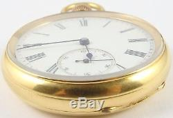 Antique solid 18ct yellow gold keyless pocket watch In Good Working Order