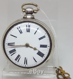 Antique solid silver fusee verge pair cased Birmingham pocket watch 1812 ref10