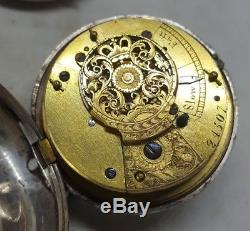 Antique solid silver pair cased verge fusee London pocket watch 1828 working