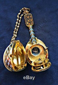 Antique verge fusee pocket watch enamel gold mandolin montre coq spindeluhr
