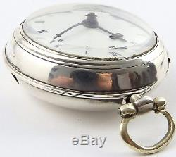 Antique verge pair case silver pocket watch E Hemmen London HM1791 Working order