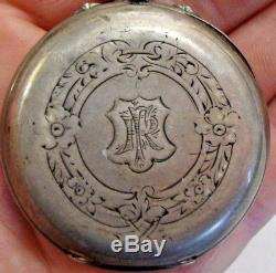 Antique white metal cased triple dial moon phase pocket watch 15 jewels