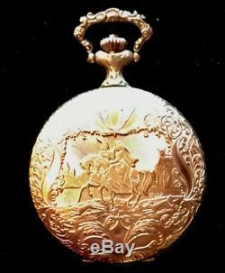 Arnex Pocket Watch 17J Incabloc Hunter Repousse Case Porcelain Dial Vtg Antique