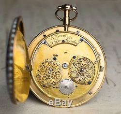 BRITISH 18k GOLD ENAMEL Full Plate Cylinder Non-Verge Antique Pocket Watch