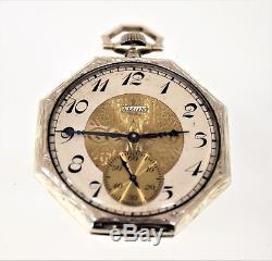 Beautiful 14K Solid White Gold (Rare) Antique Elgin 17J- Running Pocket Watch
