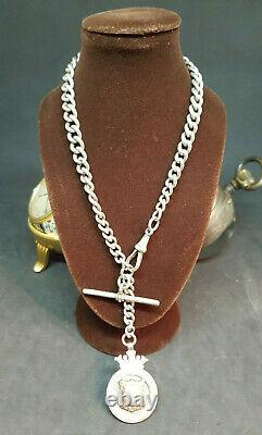 Beautiful Antique 1900's Solid Silver Pocket Watch Chain & Fobs 55.8 G