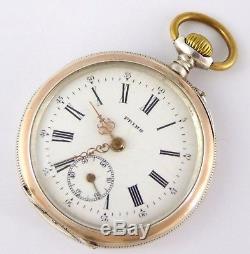 Beautiful Art Nouveau Antique 1900s German. 800 Silver and Gold Pocket Watch FJ