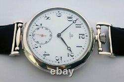 Big ANTIQUE Swiss Mechanical Mens Marriage luxury Silver Wristwatch Enamel Dial