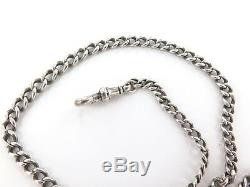 C1880s ENGLISH STERLING SILVER GRADUATING POCKET WATCH CHAIN, T/BAR & 1887 COIN