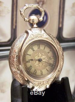 C1890 V Rare Antique Vintage Solid Gold Bespoke Portrait Pocket Watch & Locket