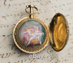 CONCEALED EROTIC SCENE ENAMEL PAINTING GOLD Verge Fusee Antique Pocket Watch