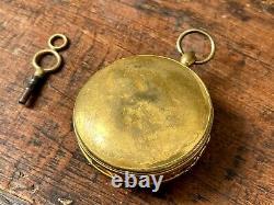 Calendar pocket watch verge fusee antique 3 register A. Paris