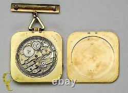 Cartier Gold Square Antique Pocket Watch, 29 Jewels Repeater with Original Pouch