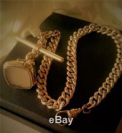 Chunky Antique Victorian Gold Gf Wax Seal Fob T/bar Pocket Watch Chain 45 Gr