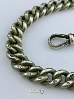 Crica 19th Century Solid Hallmarked Silver Graduated Albert Pocket Watch Chain