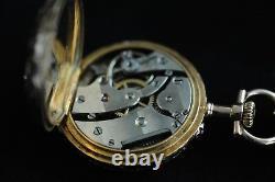 Diamond, Enamel, 14k Yellow Gold Pocket Watch Pendant Fleur de Lis Christmas 1899