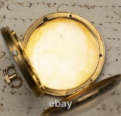 ENAMEL MINIATURE PAINTING Gold & Diamonds Verge Fusee Antique Pocket Watch