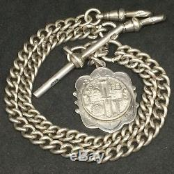 EXCEPTIONAL HEAVY Solid Silver Double Albert Pocket Watch Chain 58.9g