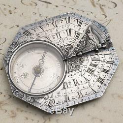 Early XVIII Octagonal Silver Antique Pocket Sundial by NICOLAS BION in PARIS
