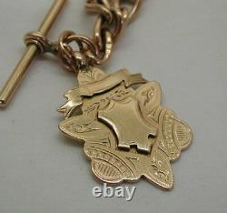 Edwardian Heavy Solid 9 Carat Rose Gold Double Albert Watch Chain & Medal Fob