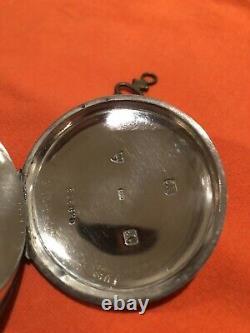 English Key Wind Solid Silver Pocket Watch Graves Sheffield Antique Chain Key