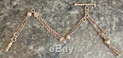 FANCY antique STERLING SILVER ALBERTINA WATCH CHAIN with tassel, link & tbar