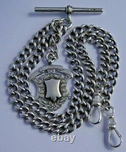 Fabulous antique solid silver double pocket watch albert chain & silver fob
