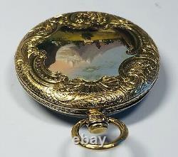 Fine Antique 19th Century 14K Yellow Gold Swiss Enamel Landscape Pocket Watch
