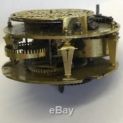 Fine Antique C1720 Verge Pocket Watch Movement Charles Voisin Paris 4.7cm Rare