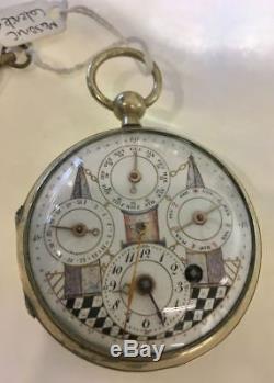 Fine Antique Masonic Calendar Silver Pocket Watch