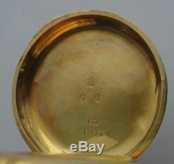 GOOD ANTIQUE VICTORIAN 18CT GOLD ENGLISH DIGITAL JUMP HOUR POCKET WATCH, c1885