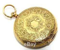 Gents mens 18ct 18carat solid gold ornate antique pocket watch, JTW London 1871